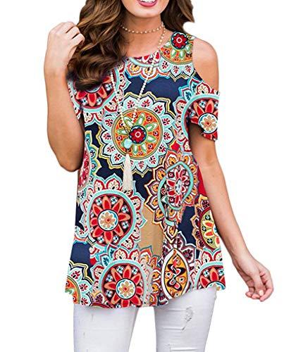 - Kancystore Women's Plus Size Cold Shoulder Summer Tops Flower Print Blouse Shirts (Pattern 2, XL)