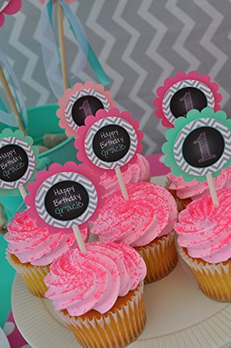 1st Birthday Cupcake Toppers Chalkboard - Set of 12