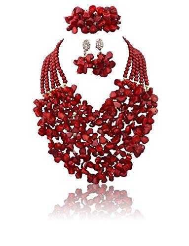 5couches Chunky complet du Nigeria mariage Corail perles Chips Jewelry Lot de perles bijoux de perles de corail-Collier Femme-Livraison gratuite
