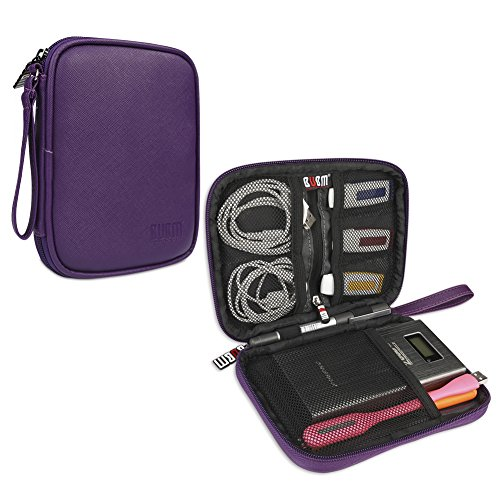 BUBM External Hard Drive Carry Bag, Organizer for Hard Drive, Power Bank, USB Flash Drive, SD Cards and Other Accessories, Purple by BUBM