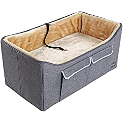 "Petsfit Pet/Cat/DogBooster Seat/Lookout Car Seat for 2 Small Dogs or Medium Dog up to 45 Pounds,with Big Pockets (Gray) 29""Lx16""Wx14""H Large"