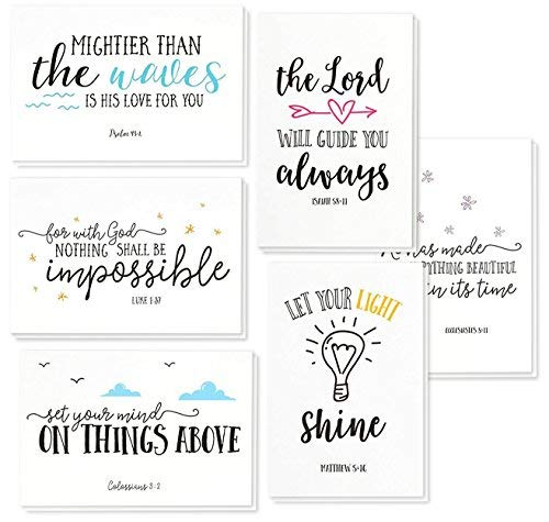 48 Pack Inspirational Bible Verse Quote Greeting Cards - Religious Inspiring Motivational Cards - Bulk Box Set - Includes 48 Cards with Envelopes - 4 x 6 Inches -