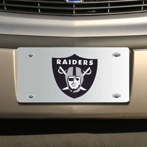 NFL Oakland Raiders Silver Mirrored License (Oakland Raiders Tailgater Mat)