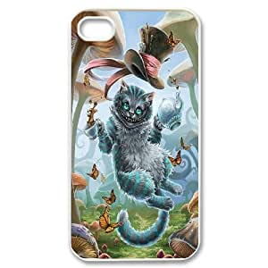 iPhone 4/4s Cases Alice in Wonderland Cheshire Cat For Guys, Iphone 4s Case Men Yearinspace, [White]