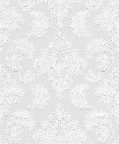 Rasch Wallton Barock Ornament Vlies Tapete Weiß Zum Überstreichen