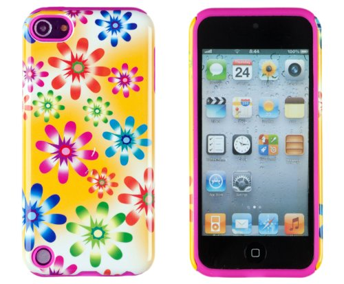 DandyCase 2in1 Hybrid High Impact Hard Pink & Green Floral Pattern + Yellow Silicone Case Cover For Apple iPod Touch 5 5G (5th generation) + DandyCase Screen Cleaner