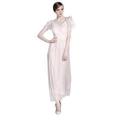 Dezzal Women\'s V-Neck 3D Flower Applique Lace Tulle Prom Maxi Dress ...