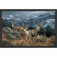 Wildlife Mountain Mule Deer Rug 37 x 52 Rustic Carpet Wilderness Theme Decor