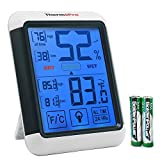 ThermoPro TP55 Digital Hygrometer Indoor Thermometer Humidity Gauge with Jumbo Touchscreen and Backlight Temperature Humidity Monitor