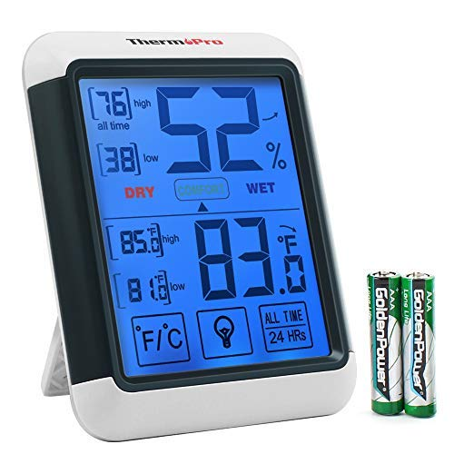 Hygrometer Indoor Thermometer Humidity Gauge with Jumbo Touchscreen and Backlight Temperature Humidity Monitor