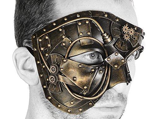 Steampunk Gear Phantom Half Mask Halloween Costume Party (GOLD)