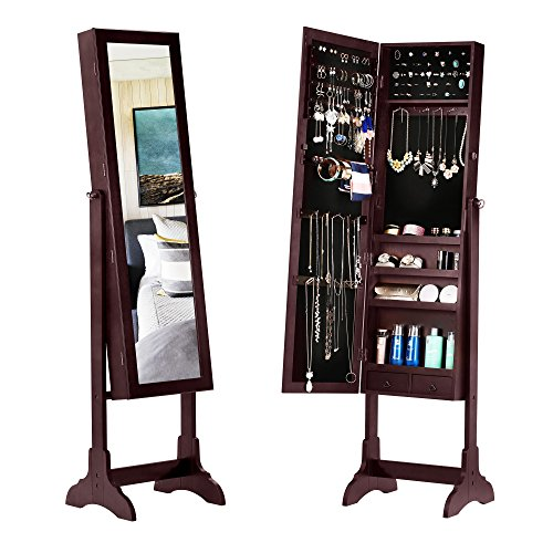 BASTUO Jewelry Cabinet Lockable Textured Jewelry Armoire Organizer Free Standing with Full Length Mirror,Brown