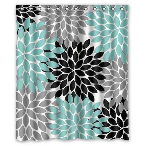 Black Grey Green Dahlia floral Pattern Polyester Waterproof Shower Curtains 60