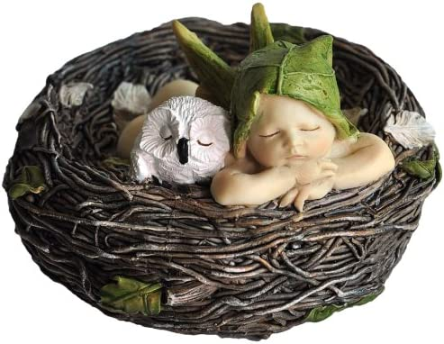 Top Collection Miniature Fairy Garden and Terrarium Sleeping Fairy Baby with Owl in Nest Statue