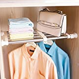Hershii Closet Tension Shelf & Rod Expandable Metal Storage Rack Adjustable Organizer DIY Divider Separator for Cabinet Wardrobe Cupboard Kitchen Bathroom,15.74-23.62inches