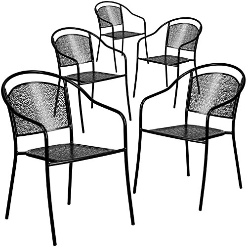 Flash Furniture 5 Pk. Black Indoor-Outdoor Steel Patio Arm Chair with Round Back