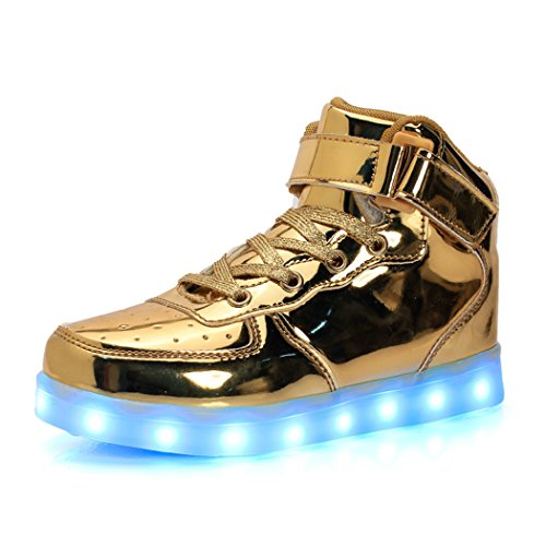 Price comparison product image AOBMY High Top USB Charging Led Sneakers For Kids Boy and Girl's Light Up Flashing Shoes(Toddler/Little Kid/Big Kid) (Big Kid:US 4.5 M, Gold)