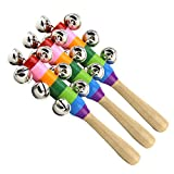 TOYMYTOY 3pcs Baby Kids Toys Jingle Bell Christmas Hand Jingle Bells Children Musical Instrument with Wood Handle