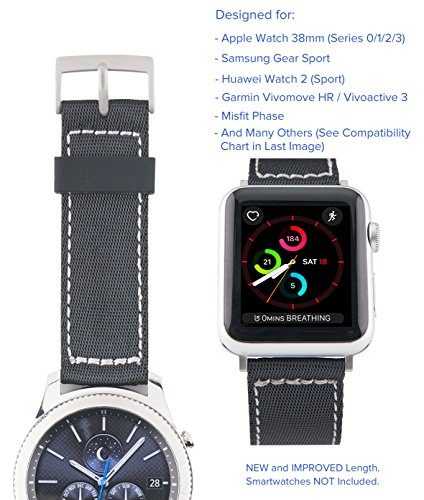 [Upgraded] Truffol 20mm NATO Lite Woven Nylon Band for Apple Watch 38mm, Misfit Vapor, Samsung Gear Sport - Replacement Watch Strap (Black / Silver) ()