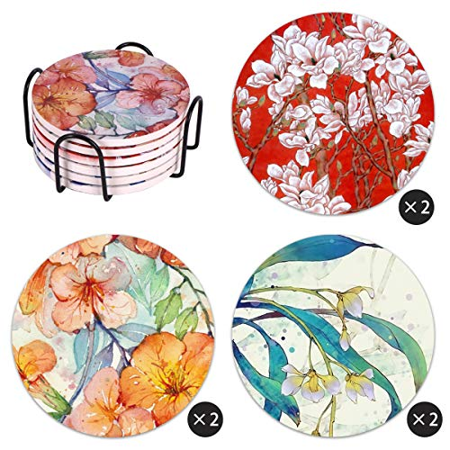 Vencer Watercolor Flowers Absorbent Coasters for Drinks | Set of 6 with Holder - Protect Your Furniture from Stains,Coffee,Add Style to Your Dining Room,Unique Present for Friends ()