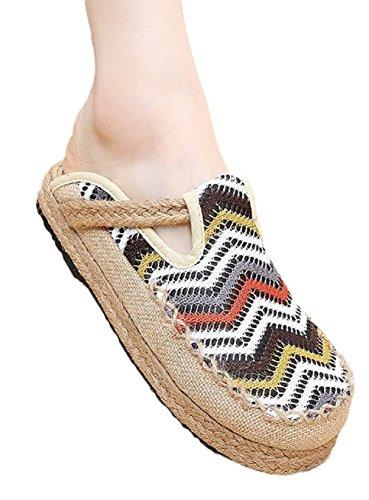 Lazutom - Zapatillas de estar por casa de mezcla de lino para mujer gris