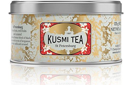 Kusmi Tea St. Petersburg Black Tea - Carmel, Red Fruits, Earl Grey, and Essential Oils of Bergamot Mixture With a Hint of Vanilla Perfect for Tea Lovers (4.4oz Tin 50 Servings)