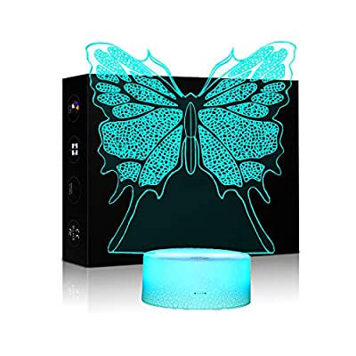 Butterfly 3D LED Night Light Lamps Optical Illusion Lamp 7 Colors Touch Xmas Decoration Lighting Table Desk Visual Lamp for Home Decoration and Kiddie Kids Children Family Holiday GIFS (Butterfly)