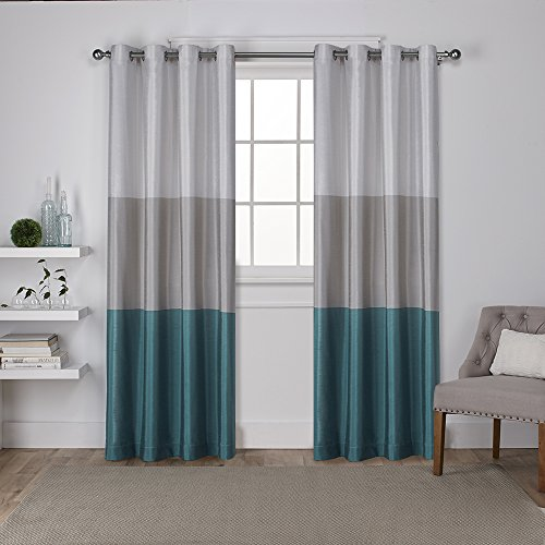 Exclusive Home Curtains Chateau Striped Faux Silk Grommet Top Window Curtain Panel Pair, Teal, 54x96 (Silver Curtains Teal)