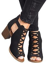 Womens Platform Open Toe Ankle Strap Zipper Back High Heel Sandals