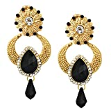 Bollywood Inspired Designer Handcrafted Indian Drop Dangler Earrings - Black