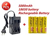 Best 5000 mAh 3.7V 18650 Battery(4PCS) with Intelligent Plug Charger, Protected Rechargeable Lithium Battery,Fit for Laser Pointer,Handheld Flashlight Torch,Headlight and Other Electronic Devices