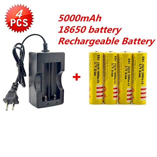 Best 5000 mAh 3.7V 18650 battery(4PCS)with Intelligent Plug Charger, Protected Rechargeable Lithium Battery,Fit for laser pointer,Handheld Flashlight Torch,headlight and other electronic devices