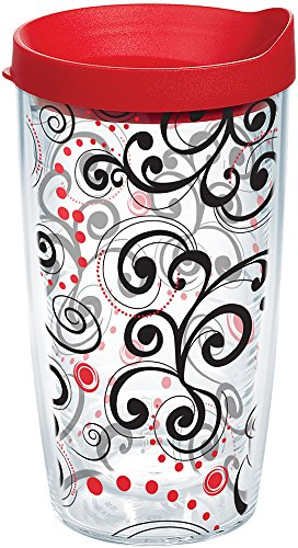 Tervis 1166112 Berry Swirlwind Tumbler with Wrap and Red Lid 16oz, Clear ()