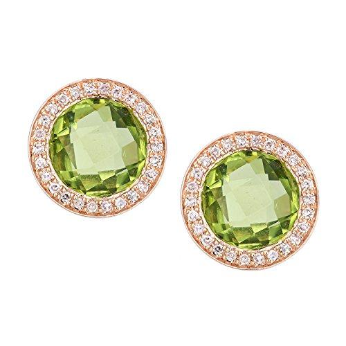 Revoni-Boucles d'Oreilles en Or Rose 9carats Diamant et Peridot