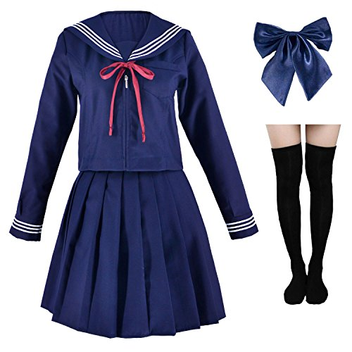 Japanese Sailor School Uniform Costume Anime Cosplay Navy Dress Lolita Suit with Socks Set Long Sleeves(XL = Asia 2XL)