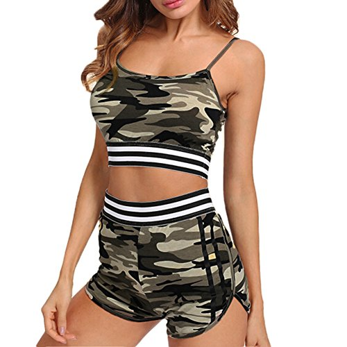 Women's Skinny Sexy String Closure Halter Tops Sports Short Jumpsuit Two Piece Outfits (Camo, M)