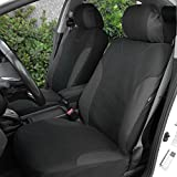 BDK Charcoal Trim Black Car Seat Covers with Split Option Bench, 5 Headrests Front & Rear Bench, 9pc Set