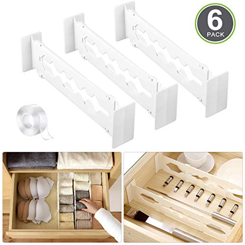 Runpo Adjustable Drawer Divider 6 Pack with Traceless Transparent Nano Gel Mat Tape Strong Secure Hold in Place - for Bedroom Bathroom Closet Baby Drawer Desk Kitchen Storage White