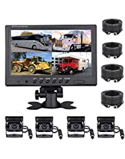 podofo Vehicle Backup Camera Kit 9 Inches 4 Split Monitor Front Rear side Reversing Camera Waterproof IR Night Vision Front Rear View Camera with 4 Pin Aviation Cable 32ft/65ft for Bus/RV/Truck/Trailer