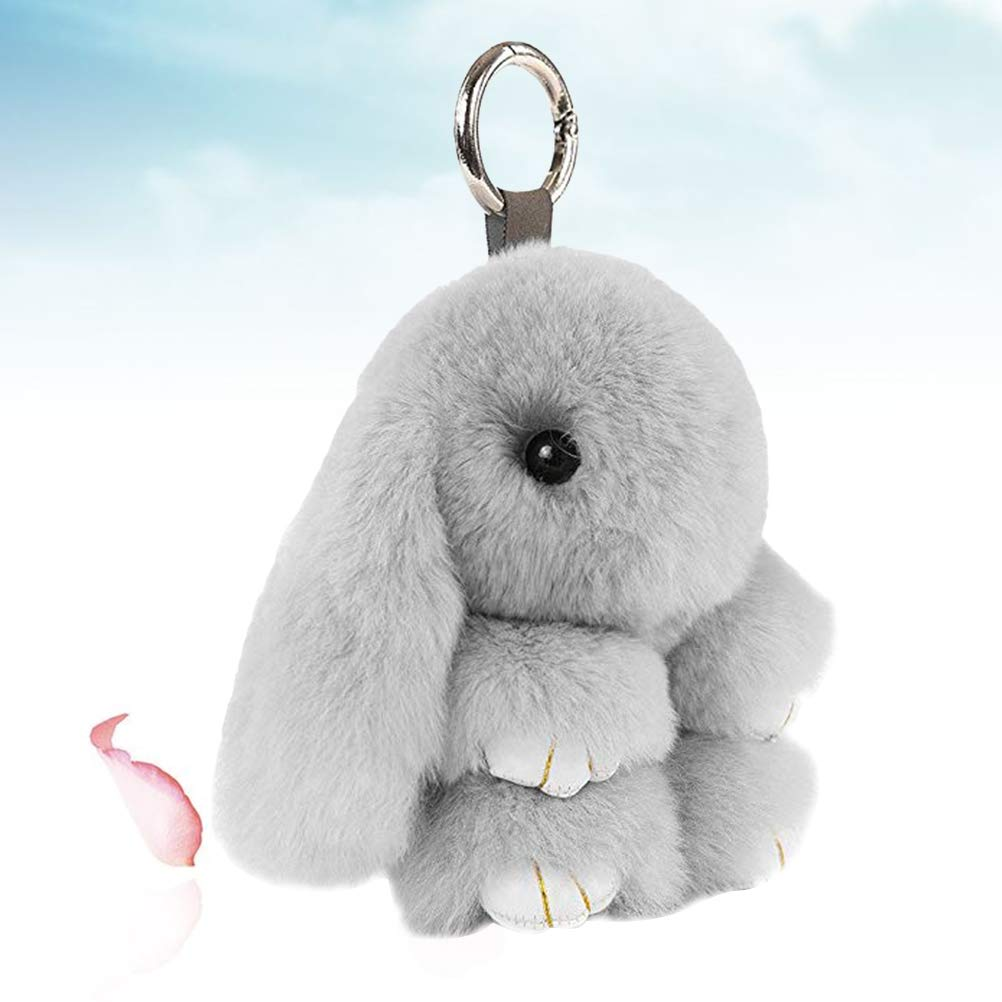 Khaki, 18cm STOBOK Bunny Rabbit Fur Keychain Portachiavi Hanging Pompon Pendant Cellphone Bag Ornament