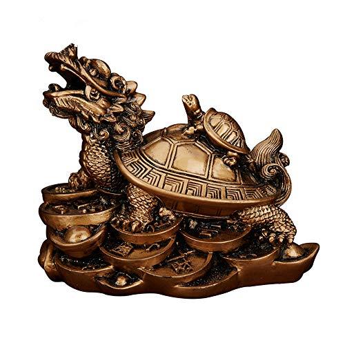Feng Shui Resin Dragon Turtle Wealth Protection Statue Home Decor Symbol of Longevity(Bronze)