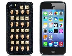 Cráneo y forma de rectángulo caso de la piel Rivet Decorado con silicona para el iPhone 5S / 5 (Negro)