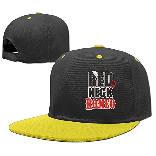 (Woonmo Children's Hip Hop Baseball Cap Redneck Romeo Kid's Cute Cool Fitted Cap with Adjustable Snapback Hip Hop Hat Yellow)