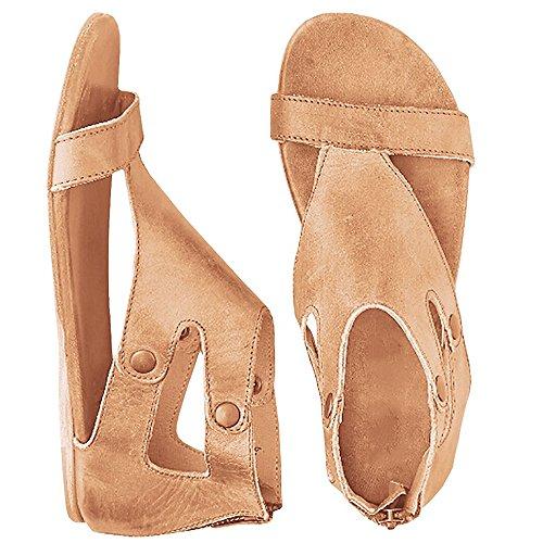 - Huiyuzhi Womens Open Toe Gladiator Thong Flat Snadals Zipper Flip Flops (5.5-6 B(M) US, 2-Khaki)