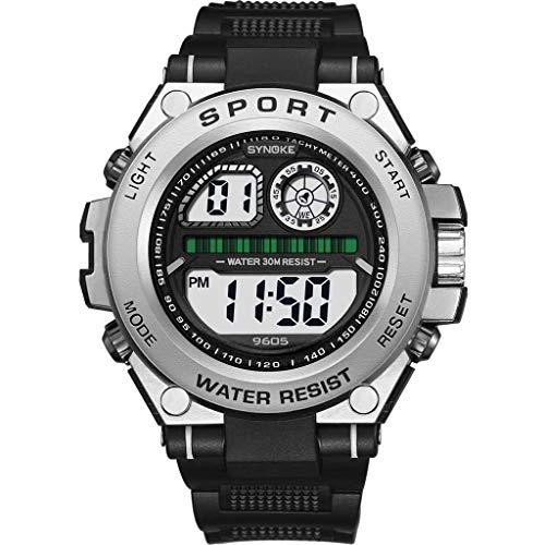 Sayolala Sports Style Watch Trend Men's Anti Fall Big Screen Multi Function Luminous Electronic Watch Deep Black Watch Deep Diver Silver Dial