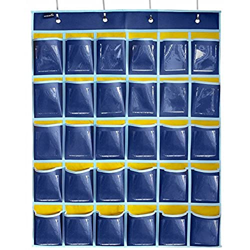 Hanging card holder amazon misslo classroom pocket chart for cell phones business cards30 pockets and clear pockets reheart Choice Image