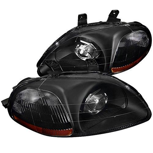 Spec-D Tuning 2LHP-CV96JM-RS Civic CX DX Si 2/3/4Dr Crystal Black Projector Headlights Head Lamps (Civic Spec D Tuning)