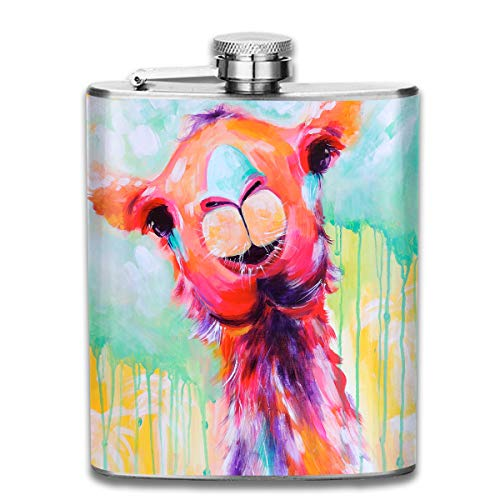 Laki-co Color Painting Llama Hip Flask for Liquor Stainless Steel Bottle Alcohol 7oz -