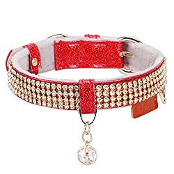 Red Premium PU Leather with Pendant & Rhinestones Adjustable Collars