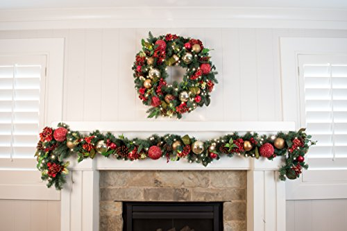 Pre-Lit Decorated Wreath Scarlet Hydrangea 30'' by VILLAGE LIGHTING COMPANY (Image #2)